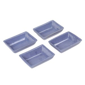 Aion Blue Ceramic Rectangular Dip Glazed Tea Light Holder - Set of 4