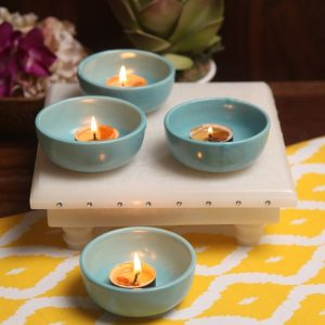 Aion Blue Ceramic Round Tea Light Holder - Set of 4