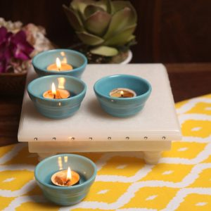 Aion Blue Ceramic Conical Dip Glazed Tea Light Holder - Set of 4