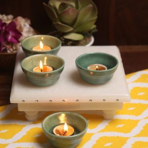 Aion Green Ceramic Conical Dip Glazed Tea Light Holder - Set of 4