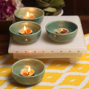 Aion Green Ceramic Round Tea Light Holder - Set of 4