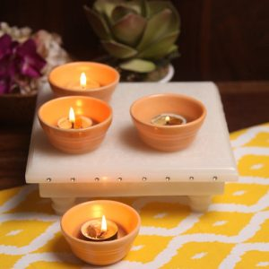 Aion Orange Ceramic Conical Dip Glazed Tea Light Holder - Set of 4