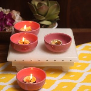 Aion Pink Ceramic Round Tea Light Holder - Set of 4