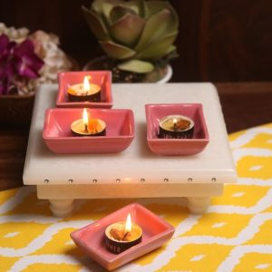 Aion Pink Ceramic Rectangular Dip Glazed Tea Light Holder - Set of 4