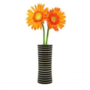 225 & Organic Handcrafted Wooden Flower Vase - Black Cut