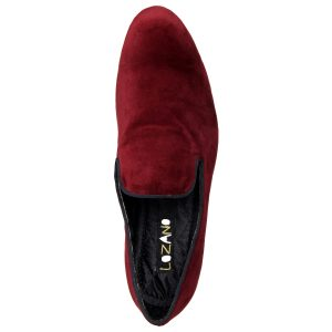 Lozano Maroon velvet slip ons with gold saddle Casual Shoes Maroon